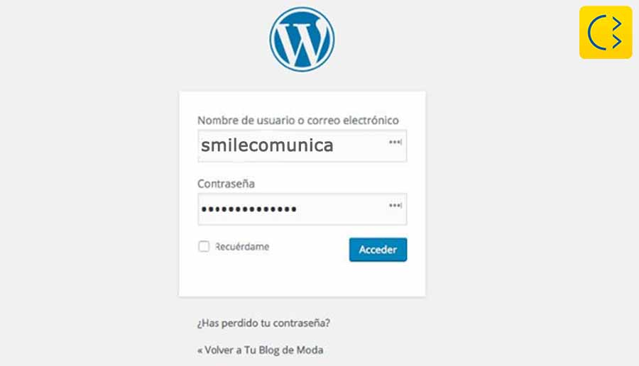 Smile Comunicación-Acceso al escritorio (Dashboard) del Panel de Control de WordPress