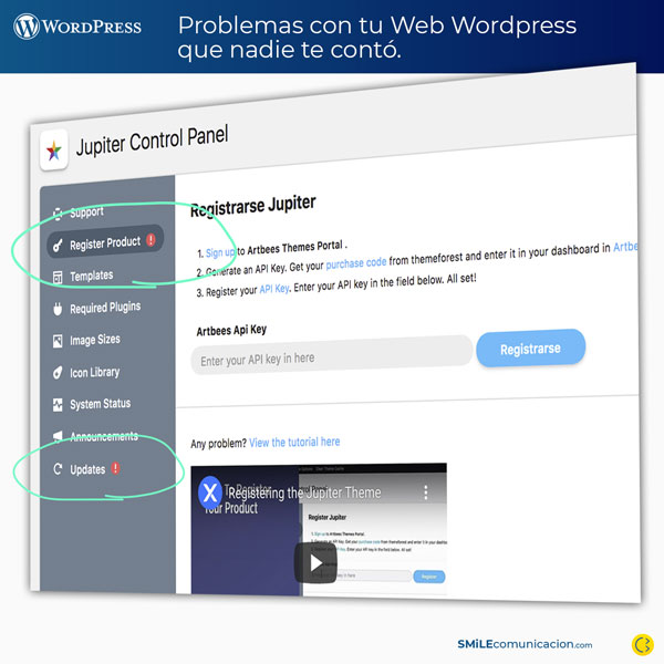 problemas wordpress